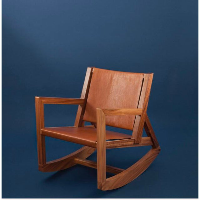 2010s Modern Rocking Chair in Parota Solid Wood and Tan Genuine Leather For Sale - Image 5 of 5