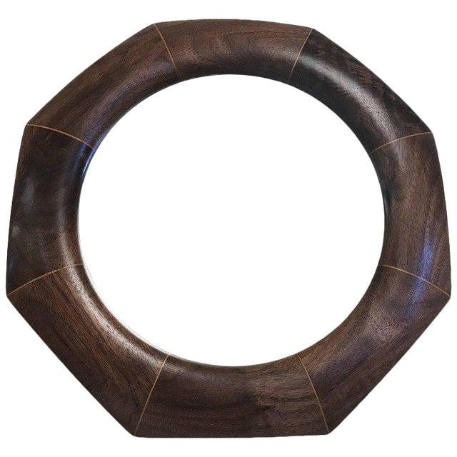 Custom Solid Walnut Octagonal Mirror For Sale