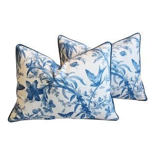 "P. Kaufmann Blue & White Aviary Toile Feather/Down Pillows 24"" X 18"" - Pair For Sale"