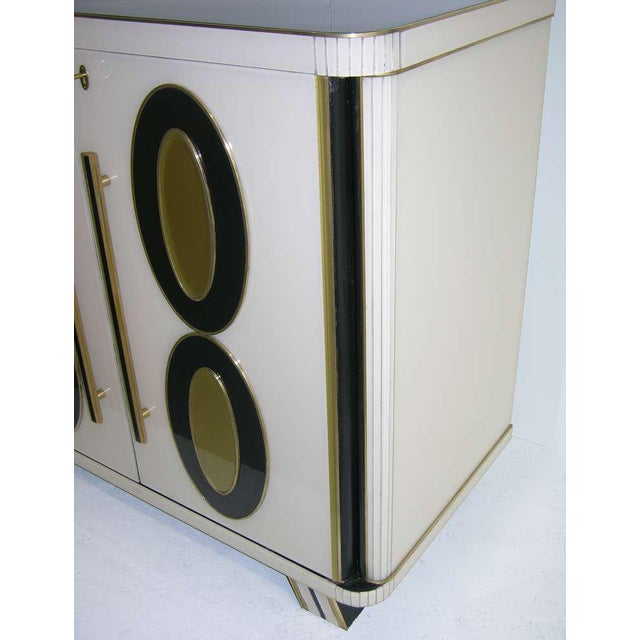 1970s Italian Art Deco Gold Black and White Cabinets or Sideboards - a Pair For Sale - Image 9 of 11