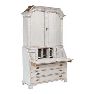 Antique Traditional White Painted Secretary Bureau For Sale