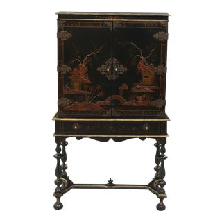 Antique Chinoiserie Dry Bar Cabinet