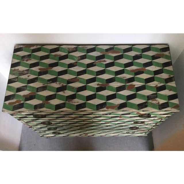 Geometric Hand Painted Antique Chest of Drawers - Image 3 of 10