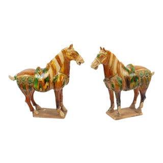 Pair of Chinese Sancai Pottery Horses For Sale