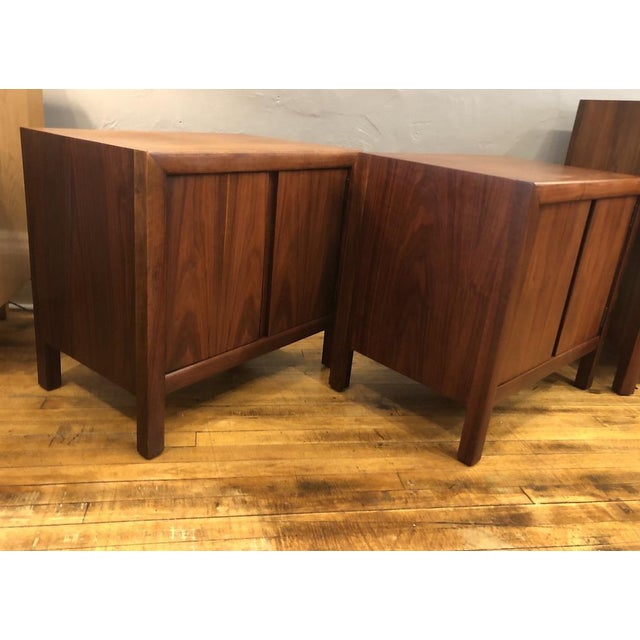 Pair of Mid Century Walnut Nightstands 196s For Sale In Boston - Image 6 of 11