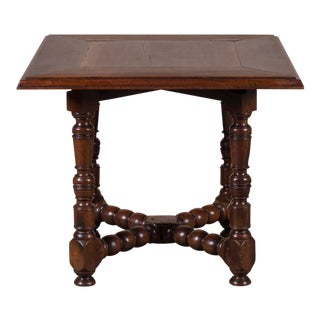 Antique French Louis XIII Style Square Walnut Table Circa 1830 For Sale