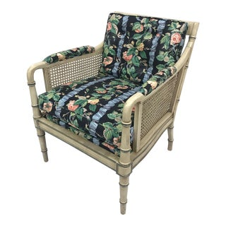 1960s Vintage Faux Bamboo Floral Chintz Armchair For Sale