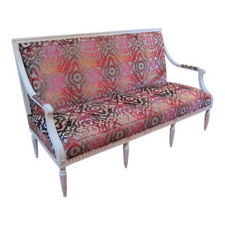 Antique French Style Pink Upholstered Settee For Sale