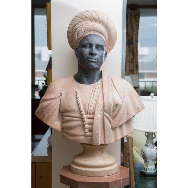 White Marble Bust of Moor For Sale - Image 8 of 8