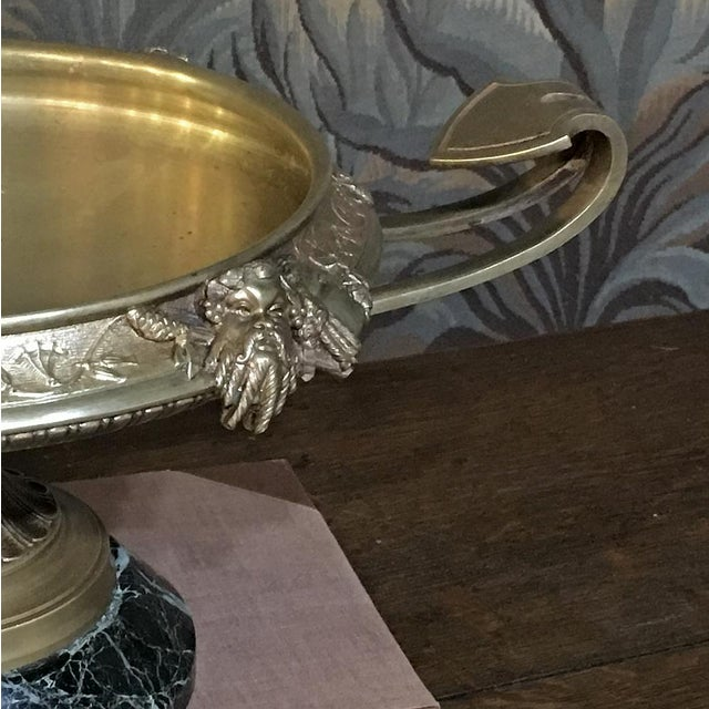 Metal 19th Century French Napoleon III Period Bronze Urn Centerpiece on Marble Base For Sale - Image 7 of 10