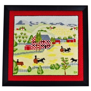 Vintage Framed Amish Landscape Needlepoint Art For Sale