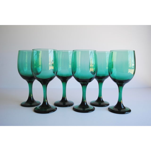 Contemporary Dark Green Wine Glasses, Set of 6 For Sale - Image 3 of 4