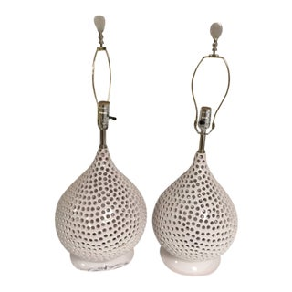 Moroccan Tile Matching White Lamps - A Pair For Sale