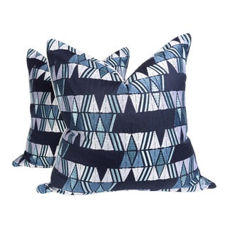 Blue Embroidered Aztek Pillows, a Pair For Sale
