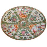 Image of 19th Century Chinese Green Painted Rose Medallion Platter For Sale