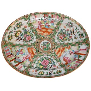 19th Century Chinese Green Painted Rose Medallion Platter For Sale