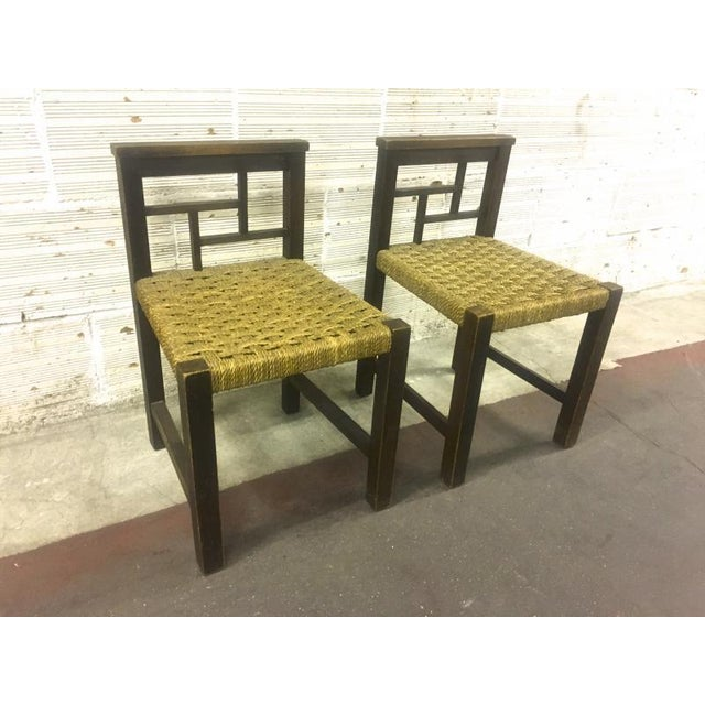 Francis Jourdain modernist bauhaus style pair of oak and rope chairs.