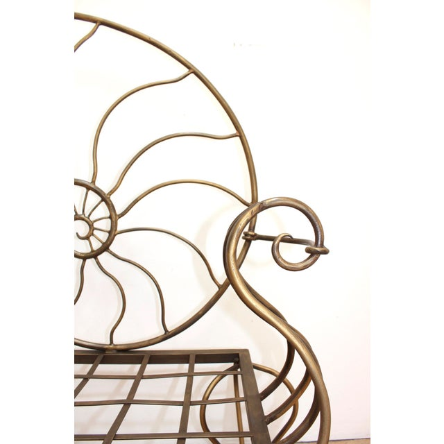Hand Forged Louis XV Nautilus Bench- Vintage Wrought Iron Settee W/ Bronze Patina For Sale In San Francisco - Image 6 of 7