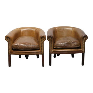 Vintage Mid Century Knightsbridge Leather Studded Club Chairs- A Pair For Sale