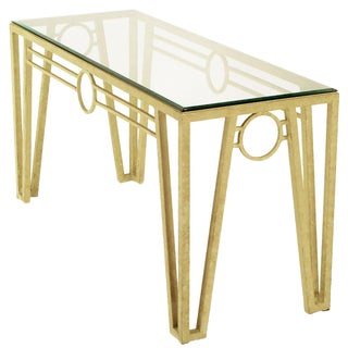 Ivory Textured Iron Art Deco Revival Console Table For Sale