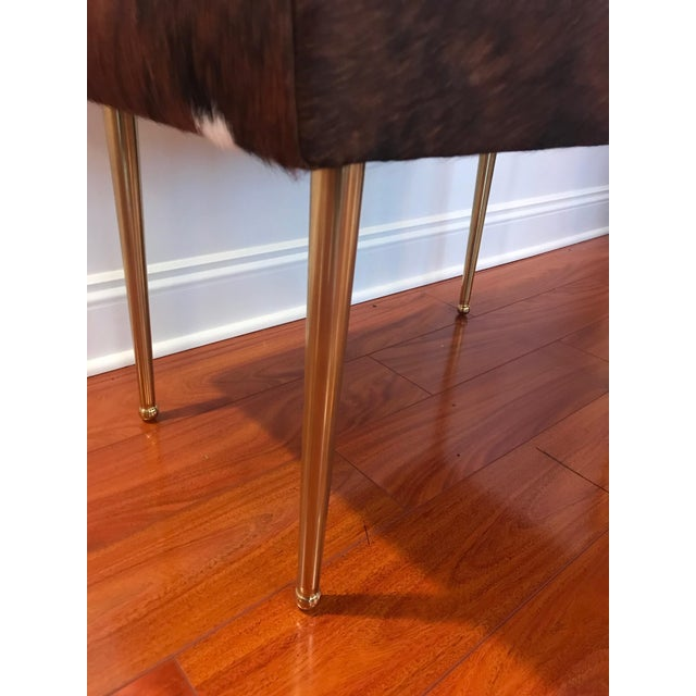 Modern Cow Hide Upholstered Bench With Brass Legs For Sale - Image 10 of 13
