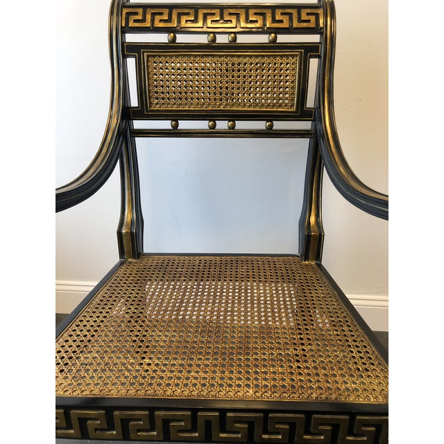 Maitland - Smith Hollywood Regency Gold & Black Greek Key Accent Chair by Maitland Smith For Sale - Image 4 of 11