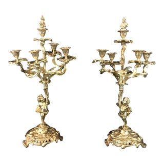 Bronze French 19th Century Louis XV Cherub Candelabras - a Pair For Sale