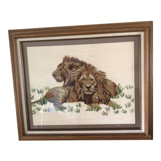 Vintage Lion Needlepoint Textile Art Wall Hanging For Sale