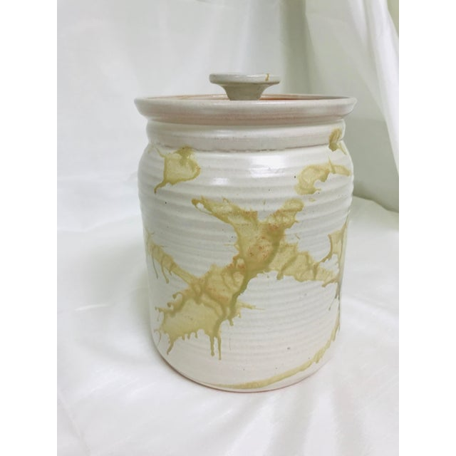 Contemporary Modern Contemporary Glazed Lidded Crock Canister Studio Pottery Jar For Sale - Image 3 of 8