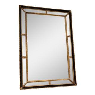 Carver's Guild Tuxedo Black & Gold Gilt Gesso Wall Mirror For Sale