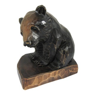 Carved Wood Bear Sculpture For Sale