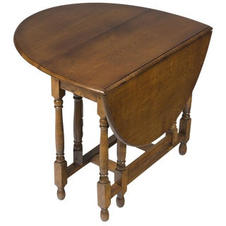 1920s Jacobean Turned Gate Leg Drop Leaf Side Table For Sale