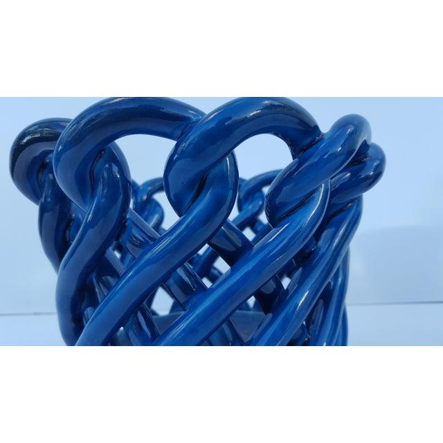 Vintage Blue Turquoise Decorative Planter Pot. For Sale - Image 5 of 8