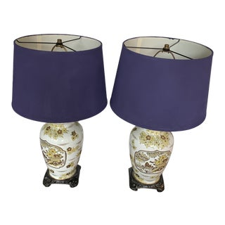 Chinoiserie Enamel Painted Ginger Jar Lamps - A Pair For Sale