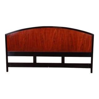 Century Furniture Modern Mahogany and Black Lacquer King Size Headboard For Sale