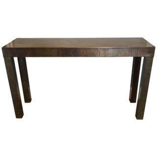 Acid Washed Bronze Parsons Console by Mastercraft For Sale