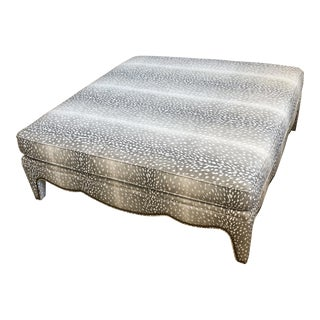 CR Laine Brass Nailhead Square Ottoman