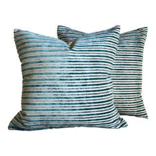 Turquoise & Grey Stripes Velvet Square Pillow Covers - a Pair For Sale