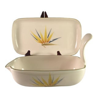 Mid-Century Modern Winfield Bird of Paradise Gravy Bowl and Presentation Plate Set - Two Pieces For Sale