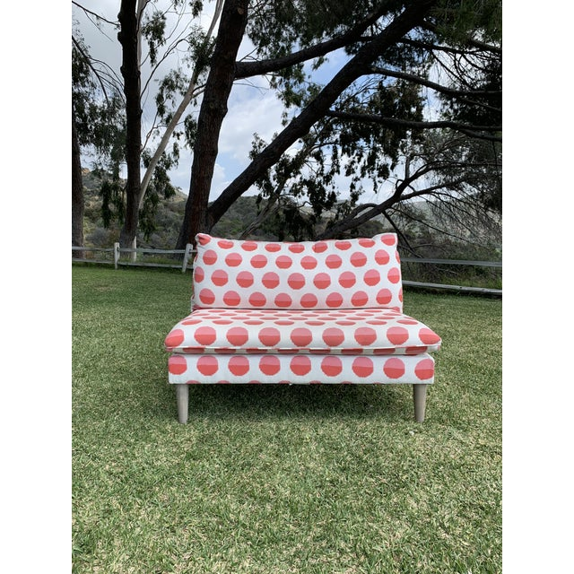 Land of Nod Margot Flamingo Polka Dot Settee For Sale - Image 12 of 12
