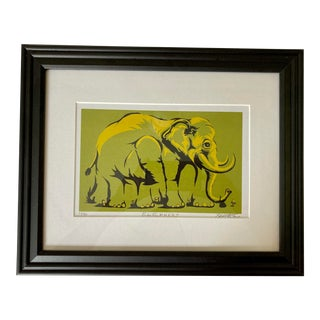 """1990s """"Elepheet Green"""" Fauvist Style Print by Peat Wollaeger, Framed For Sale"""