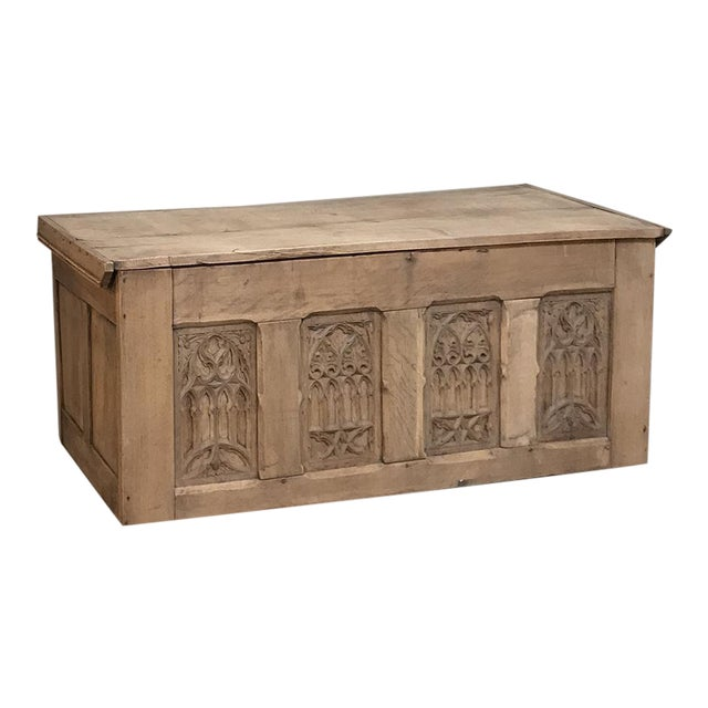 Trunk, 19th Century Rustic Gothic in Stripped Oak For Sale
