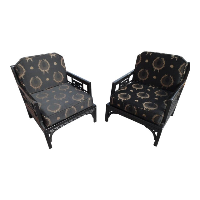 Vintage Orient Express Solid Wood Carved Asian Lounge Chairs- A Pair For Sale