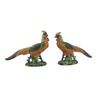 Antique Italian Ceramic Painted Pheasants - a Pair For Sale