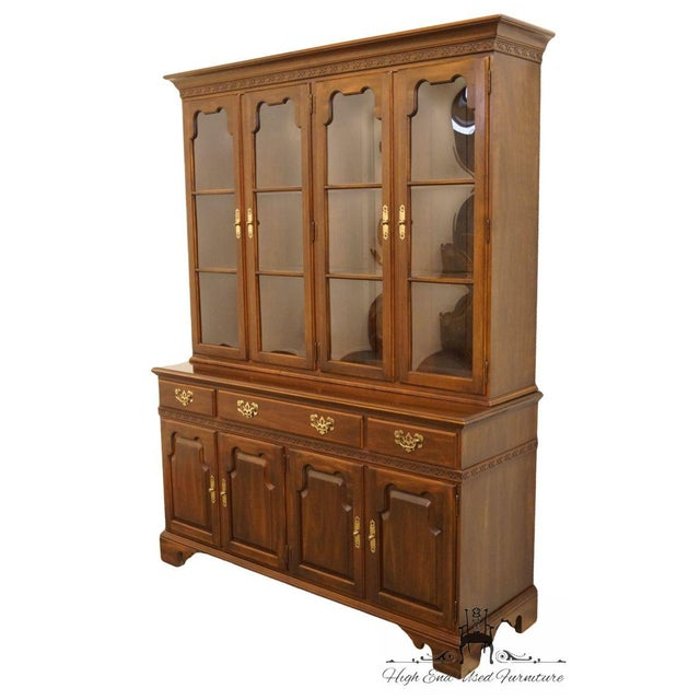 "Traditional 20th Century Traditional Ethan Allen 62"" Buffet With Lighted Bubble Glass China Cabinet Hutch For Sale - Image 3 of 6"