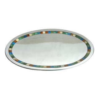 Large Towle Silversmiths Mosaic Tile Aluminum Serving Tray For Sale