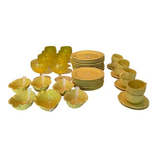 Mid Century Secla Yellow Cabbage Pottery Set - 38 Pieces For Sale