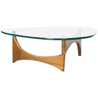 Organic Walnut and Glass Coffee Table For Sale