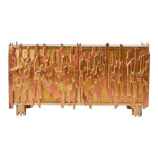 Gold-Leaf Credenza by Pedro Baez, Mexico City For Sale