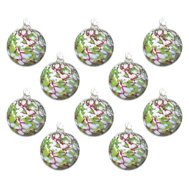 Modern Hand Blown Glass Ornaments, Holiday - Set of 10 For Sale - Image 3 of 3